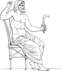 clipart of a black and white greek mythology god cronus