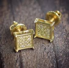small gold earrings mens hip hop gold earrings small square shaped canary high quality