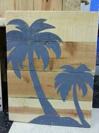 painted driftwood palm trees wall hanging nautical