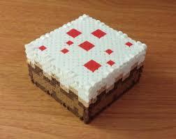 mindcraft cake cake 3d perler box