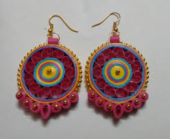handmade paper earrings multicolour with golden pearls handmade paper quilling earrings