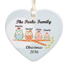 owl family ceramic heart personalised christmas tree decoration