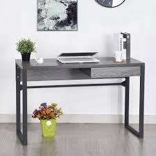 bureau chene chêne grisé 1 tiroir 120 cm pieds métal