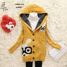 womens bunny hooded sweaters cardigans warm coats