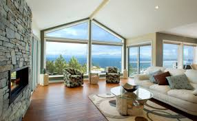 vaulted ceiling rake windows modern fireplace only my