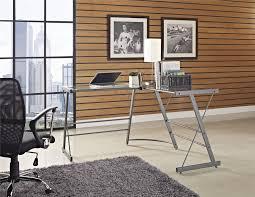 ameriwood furniture odin glass l shaped computer desk gray