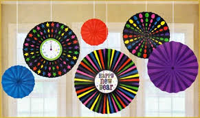 hanging paper fans happy new year s hanging paper fans clock winter party