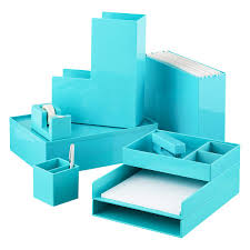Office Desk Trays by Aqua Poppin Accessory Slim Trays The Container Store