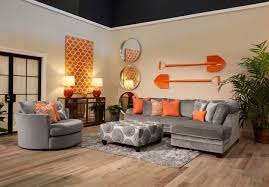 Contemporary Living Room Furniture Sets The Application Of Orange And Cool Grey In This Living Room Set