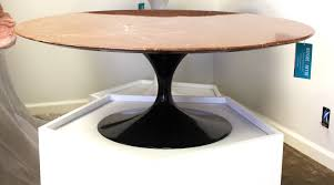 eero saarinen coffee table u2013 pink marble top and black tulip base