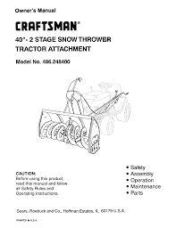 craftsman snow blower 486 2484 user guide manualsonline com