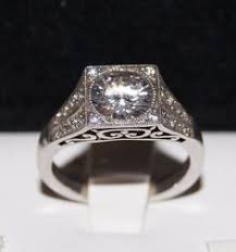 vintage engagement ring settings only 14kt white gold taper solitaire with scroll engraving on