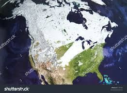 World Map Winter by Winter Satellite Photo North America Stock Photo 5139700