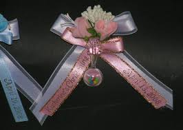 personalized ribbon for baby shower personalized baby shower corsage capias w pin