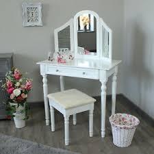 coiffeuse chambre en bois blanc coiffeuse set miroir tabouret shabby français chic