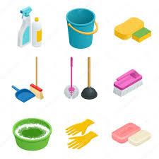 Home Clean by Vector Set Of Cleaning Tools Home Clean Sponge Broom Bucket
