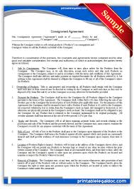 free printable consignment agreement sample printable legal