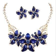 new necklace images Crystal enamel flower wedding bridal necklace earrings jpg