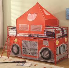 bunks twin fire engine loft bed with attached ladder and safety rails