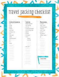 travel checklist images Printable travel packing checklist for tweens teens jpg