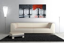 amazon com everfun art hand painted landscape oil painting on amazon com everfun art hand painted landscape oil painting on canvas modern contemporary black and red forest wall art abstract tree stretched artwork