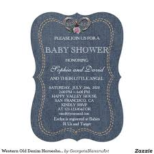 western old denim horseshoes baby shower invite baby shower