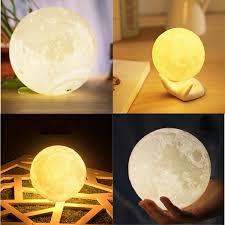 Moon Light Fixture 18cm Touch Sensor 3d Moon Lamp Usb Color Changing Led Luna Night