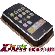 order black iphone shape cake to delhi midnight delivery in