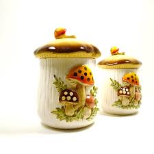 retro canisters kitchen kitchen canisters vintage mushroom canisters fall retro