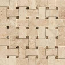 Crema Cappuccino Basketweave Pattern Polished Mosaic - Basket weave tile backsplash