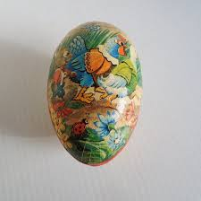 large paper mache egg large paper mache egg candy container western germany 1950s
