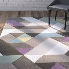 Area Rugs With Purple Varick Gallery Mott Street Modern Geometric Carved Gray Purple