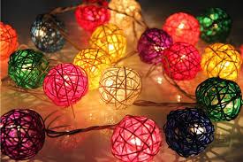decor rattan balls string lights led garden light