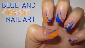 blue and orange nail art requested youtube
