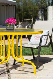 Yellow Patio Chairs Spray Painted Yellow Patio Table