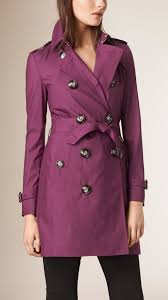 burberry silk wool trench coat bright burgundy in purple lyst