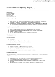 Resume Sample For Programmer by Computer Skills Resume Format Computer Skills Resume Sample Order
