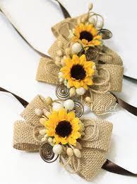 sunflower corsage 3 rustic sunflower wedding corsages set of 3 bridesmaids burlap