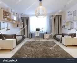 bedroom two tenagers contemporary style spacious stock