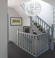 Gray Pendant Light Grey Banister Staircase Contemporary With Gray Carpet Gray