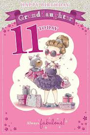 granddaughter s 11th birthday card 11 today with