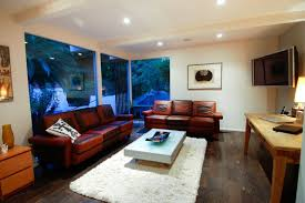 interior gorgeous interior design using brown leather sofa and