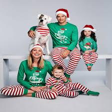 patterned family matching pajamas