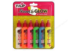 glow paint tulip 3d fashion paint set neon glow 6 pc createforless