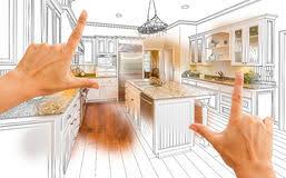 etude cuisine mains encadrant le dessin d étude de cuisine et la photo faits sur