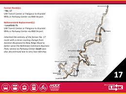 Baltimore Metro Map by Route 17 Mta Baltimorelink