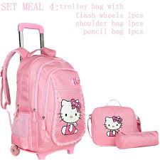 kitty bags girls rolling children backpack travel