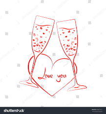 clinking glasses emoji linear champagne glass hearts concept fizz stock vector 559571611