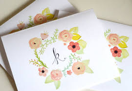 watercolor notecards ring around the rosie lettered monogram notecards custom