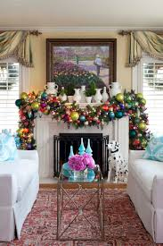 fireplace beautiful christmas mantel decor with white armchairs